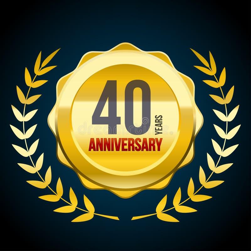 40 anos de ouro do aniversário e logotipo vermelho do crachá Ilustração EPS10 do vetor ilustração do vetor