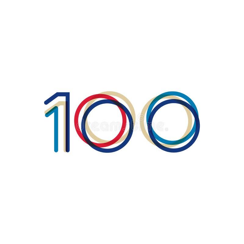 100 anos de projeto do aniversário com linhas simples Ilustração do vetor isolada no fundo branco ilustração stock