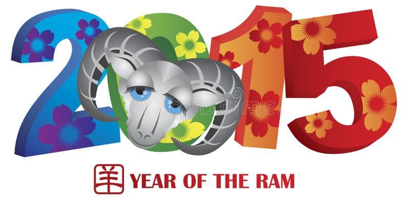 2015 anos de Ram Colorful Numerals ilustração do vetor