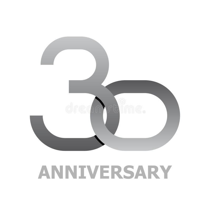 30 anos de símbolo do aniversário ilustração royalty free