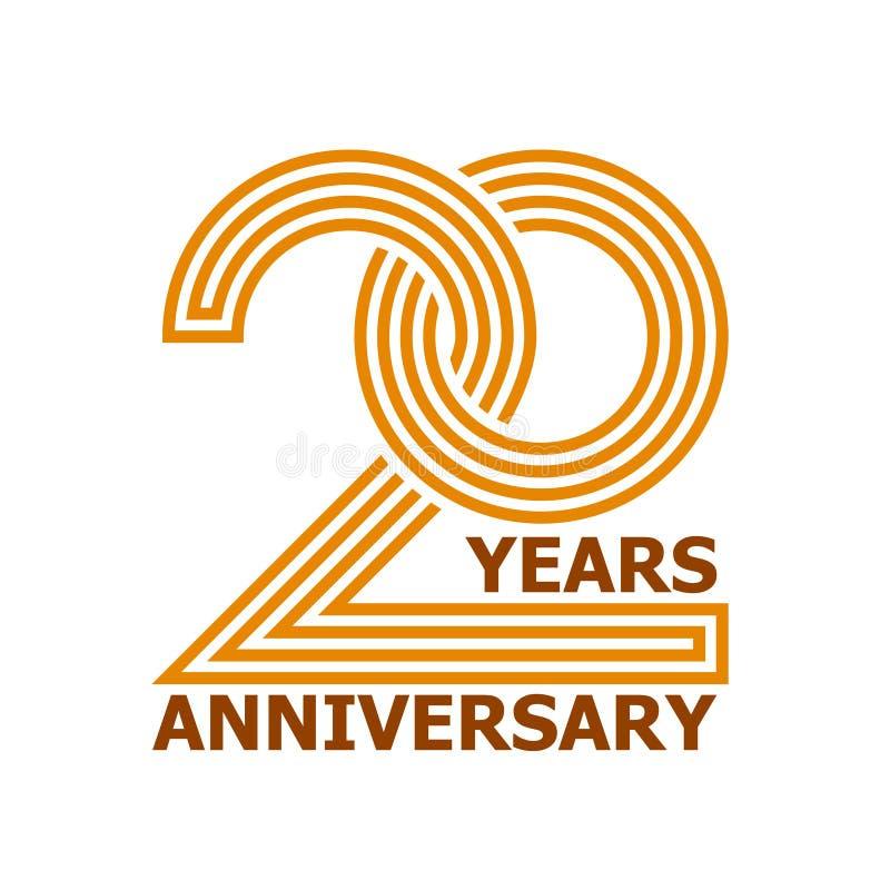 20 anos de símbolo do aniversário ilustração royalty free