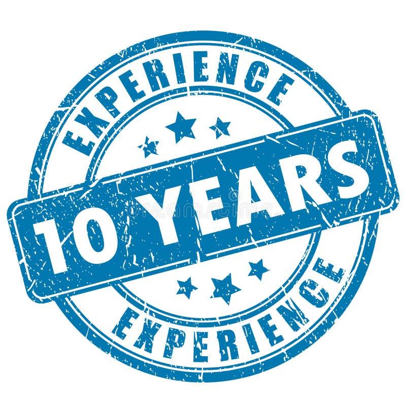 10 anos de selo da experiência ilustração do vetor