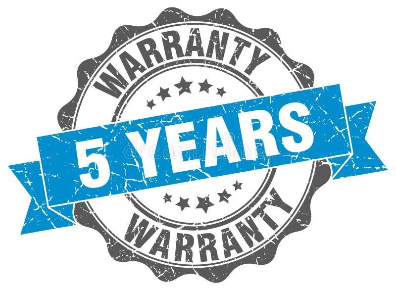 5 anos de selo da garantia ilustração royalty free