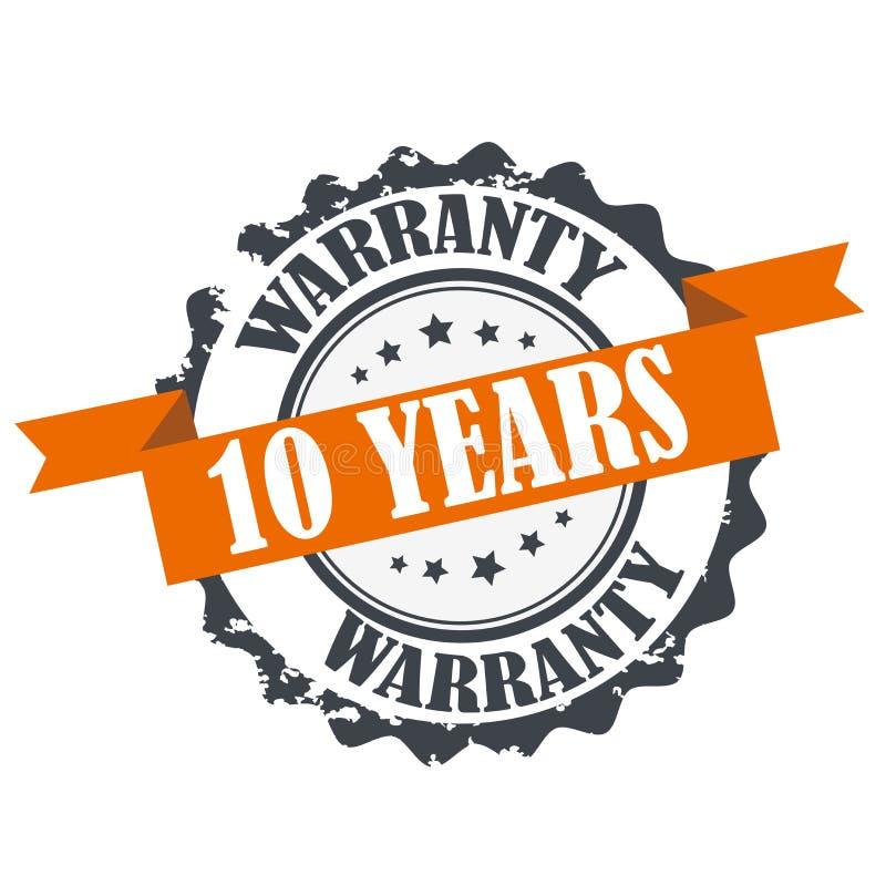10 anos de selo da garantia ilustração do vetor