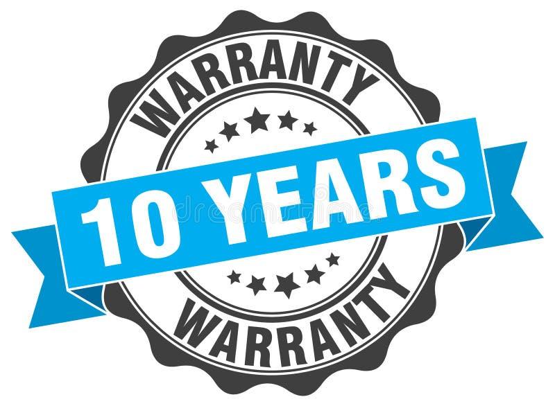 10 anos de selo da garantia ilustração stock