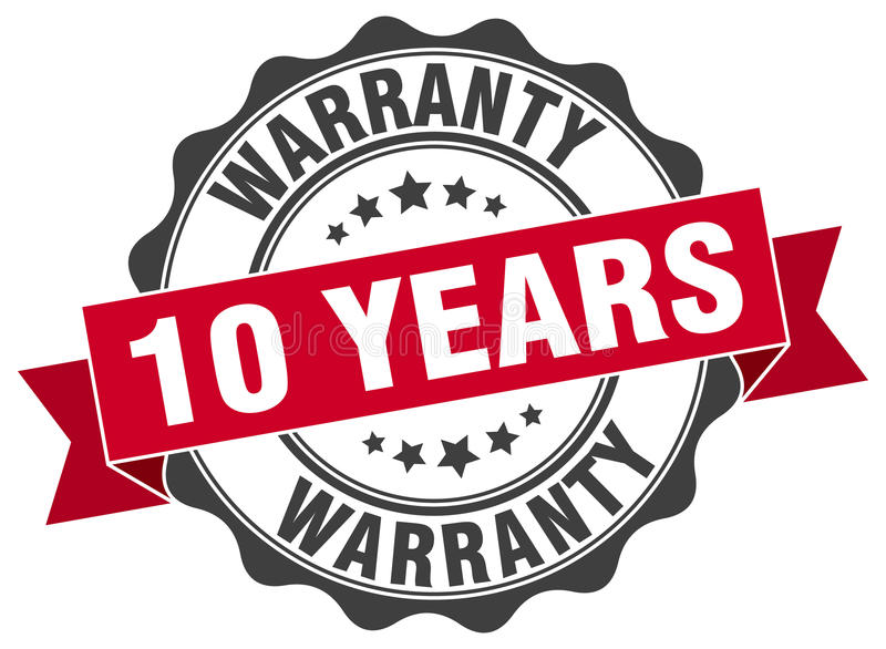10 anos de selo da garantia ilustração royalty free