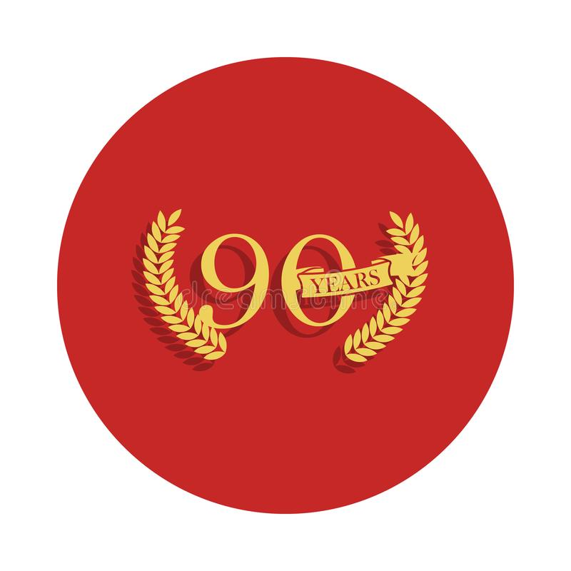 90 anos de sinal do aniversário Elemento do sinal do aniversário Ícone superior do projeto gráfico da qualidade no estilo do crac ilustração stock