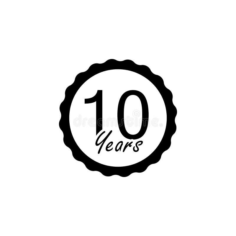 10 anos de sinal do aniversário Elemento do sinal do aniversário Ícone superior do projeto gráfico da qualidade Sinais e ícone da ilustração royalty free