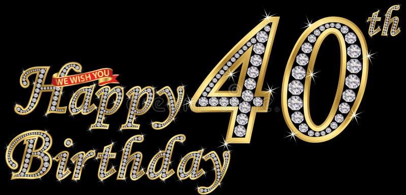 40 anos de sinal dourado com diamantes, illust do feliz aniversario do vetor ilustração stock