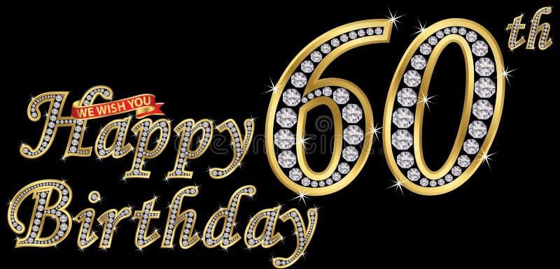 60 anos de sinal dourado com diamantes, illust do feliz aniversario do vetor ilustração stock