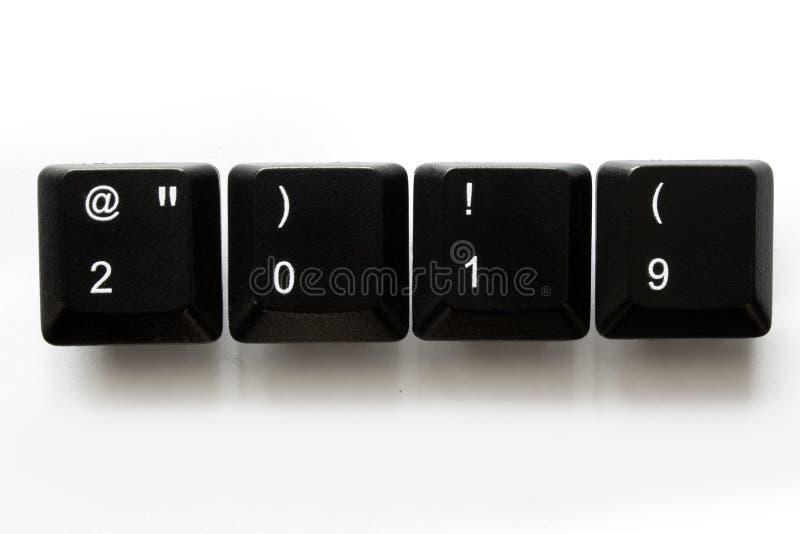 2019 anos em chaves de teclado do computador imagens de stock royalty free