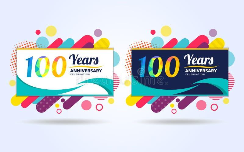 100 anos estalam elementos do projeto moderno do aniversário, edição colorida, projeto do molde da celebração, projeto do molde d ilustração do vetor