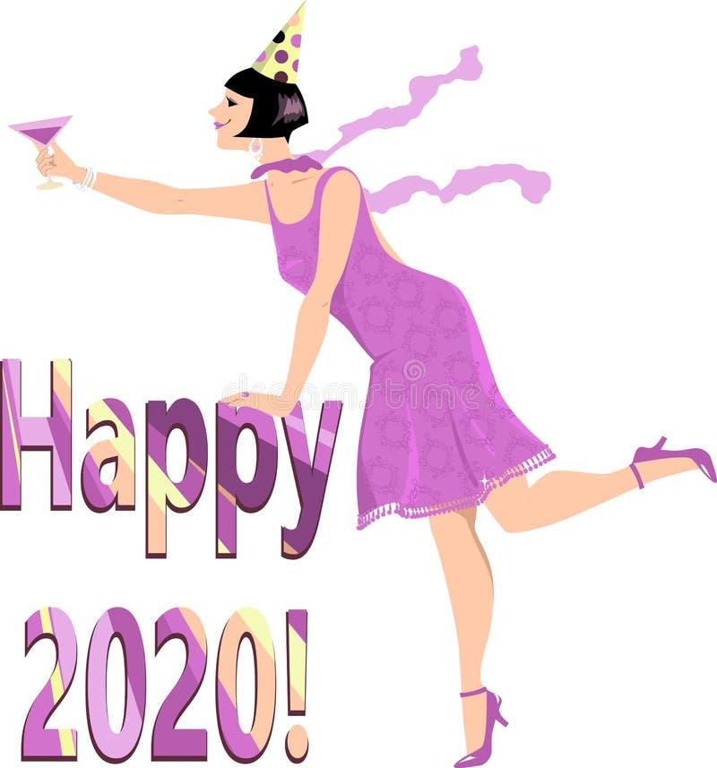 2020 anos feliz ilustração do vetor