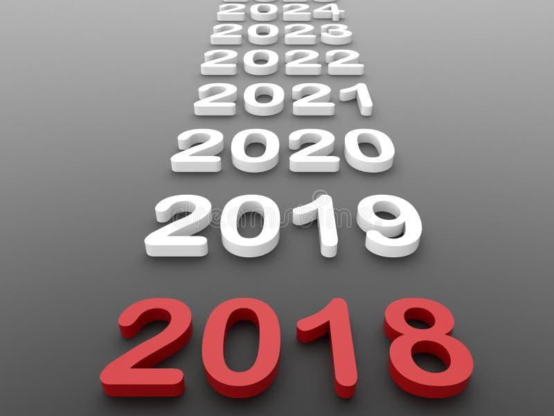 2018 anos na linha de tempo ilustração stock