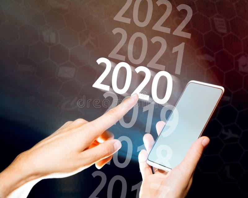 2020 anos novo em alto - tecnologia foto de stock royalty free