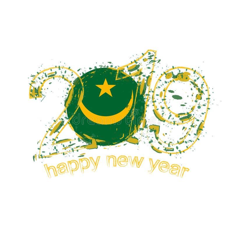 2019 anos novo feliz com a bandeira de Mauritânia Vect do grunge do feriado ilustração do vetor