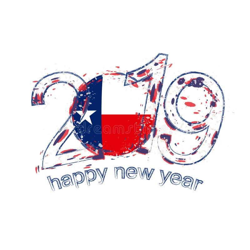 2019 anos novo feliz com a bandeira do estado de Texas E.U. Grunge do feriado ilustração do vetor