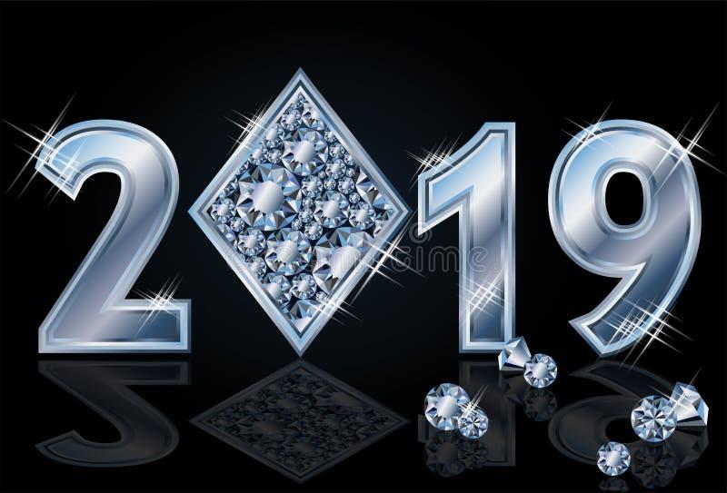 Anos novo feliz do pôquer dos diamantes 2019, vetor ilustração stock