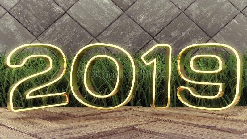 2019 anos novo feliz Números 2019 do ouro da ilustração do feriado 3d Em um fundo de madeira Grama verde Projeto na moda da tampa ilustração stock
