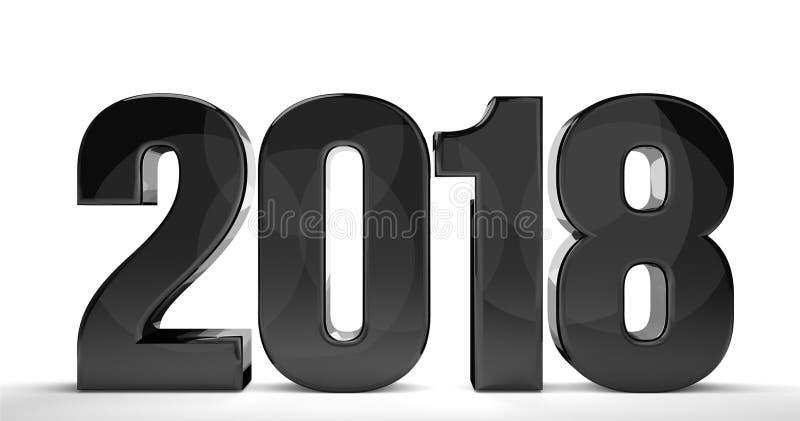 2018 anos novos 3d isolado rendem o número do sylvester ilustração royalty free