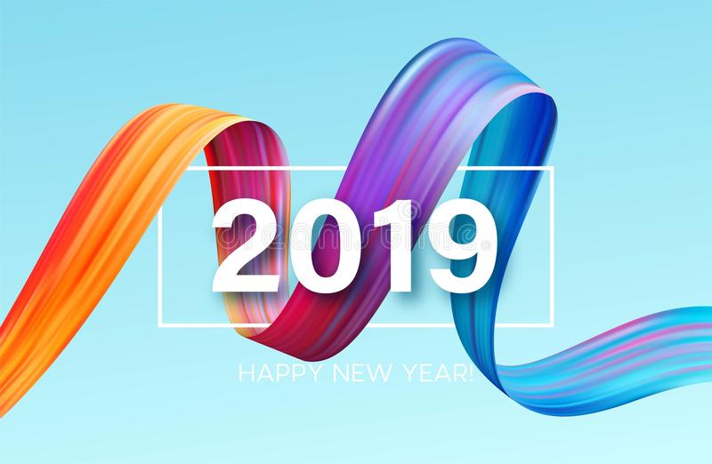 2019 anos novos de um elemento do projeto do óleo colorido da pincelada ou da pintura acrílica Ilustração do vetor ilustração stock