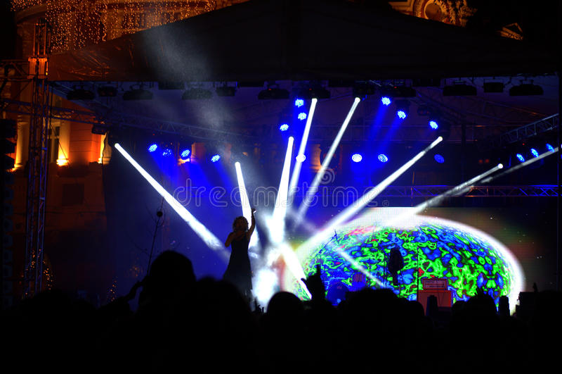 Anos novos do concerto da véspera no quadrado fotografia de stock royalty free