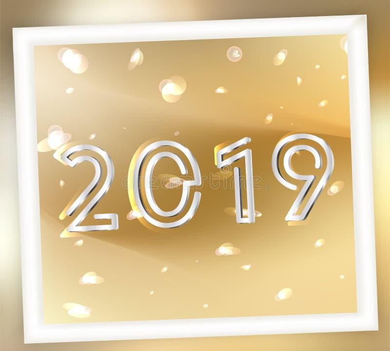 2019 anos novos dourado e de prata ou fundo abstrato ilustração royalty free