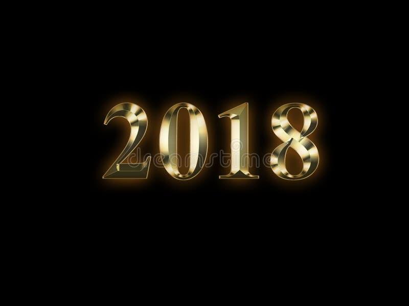 2018 anos novos dourado luxuoso no fundo preto Ano novo feliz 2018 ilustração do vetor