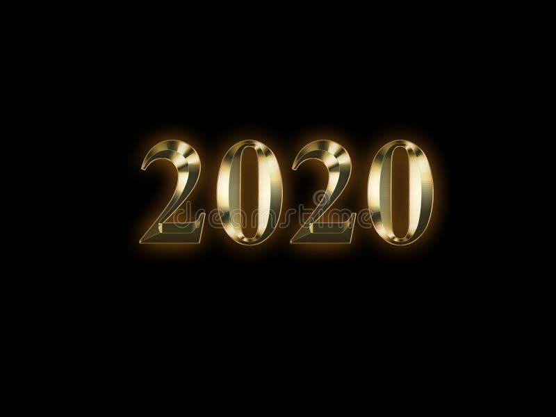 2020 anos novos dourado luxuoso no fundo preto Ano novo feliz 2020 ilustração stock