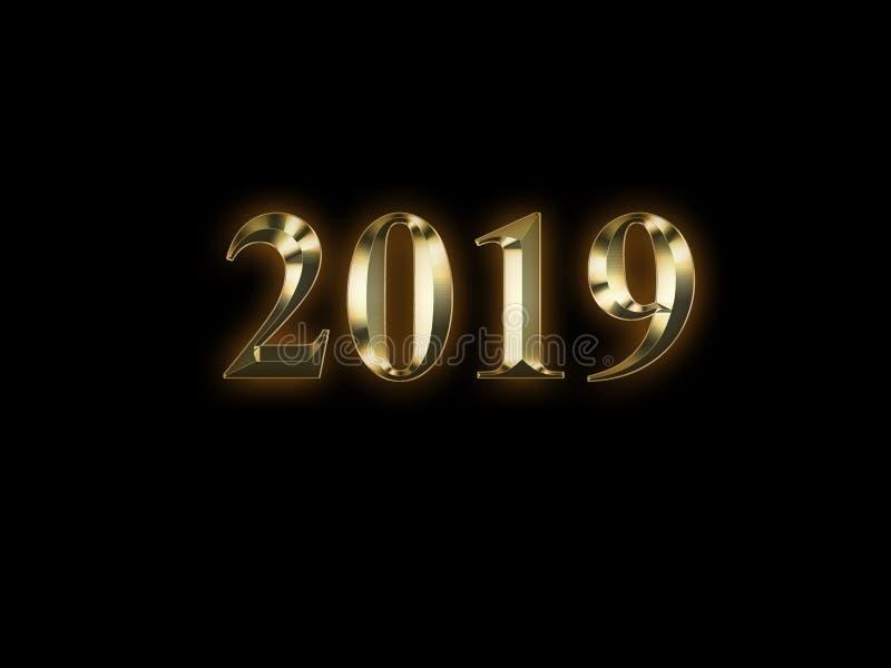 2019 anos novos dourado luxuoso no fundo preto Ano novo feliz 2019 ilustração do vetor
