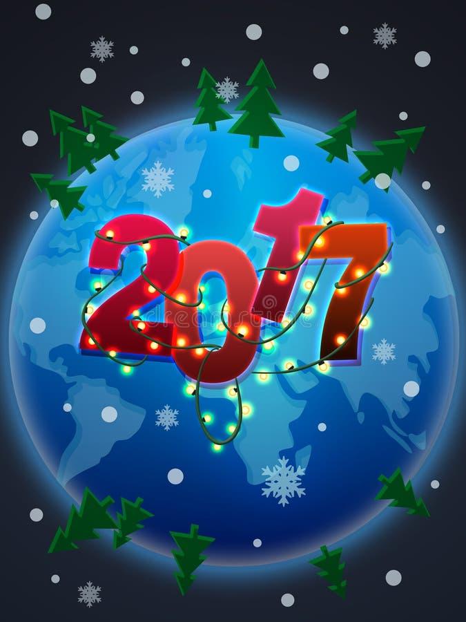 2017 anos novos feliz! ilustração stock