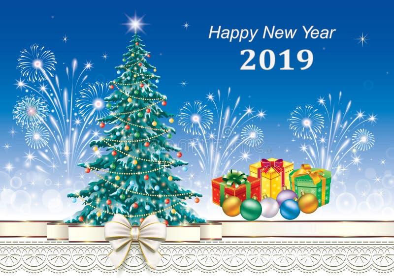 2019 anos novos felizes Cartão com árvore de Natal ilustração royalty free