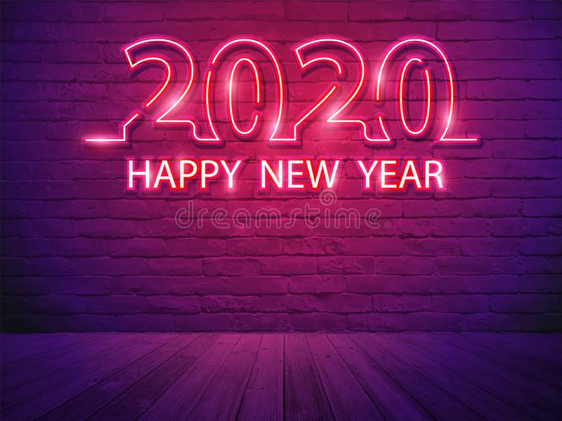 2020 anos novos felizes com alfabeto claro de néon no fundo da sala da parede de tijolo ilustração royalty free