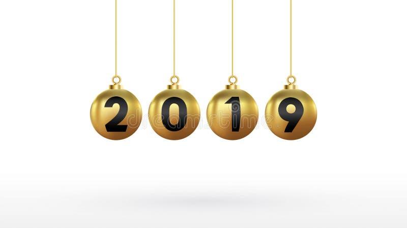 2019 anos novos felizes com as bolas do Natal da cor ou bolas ou bolhas abstratas espaço da cópia do sinal 3d Projeto festivo do  ilustração do vetor