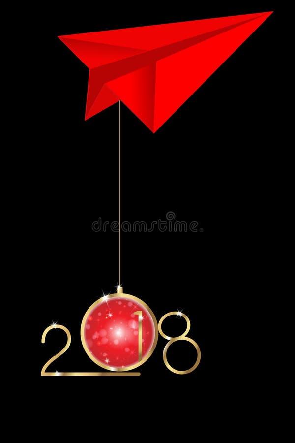 2018 anos novos felizes com a bola vermelha do Natal do whit da textura do ouro e voo plano de papel vermelho, ou fundo preto ilustração stock