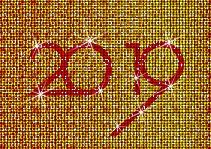 2019 anos novos felizes com textura de brilho do ouro, fundo brilhante moderno do vetor, elementos para o calendário e cartão de  ilustração royalty free