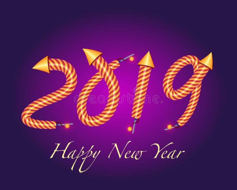 2019 anos novos felizes com um efeito dos fogos de artifício do foguete ilustração stock