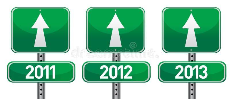 Anos novos felizes de sinais de rua ilustração stock