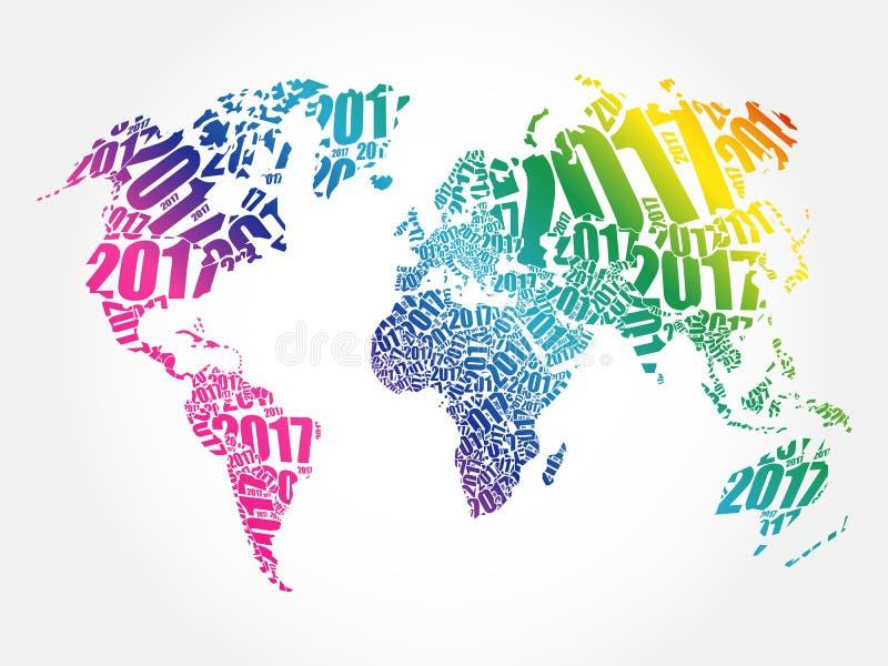 2017 anos novos felizes, mapa do mundo imagem de stock