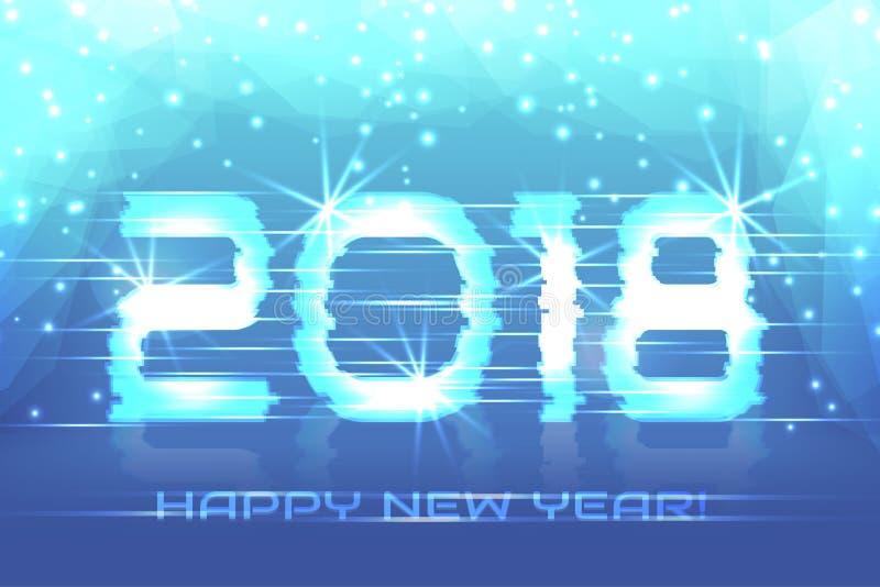 2018 anos novos! Fundo do inverno do cartaz ilustração stock