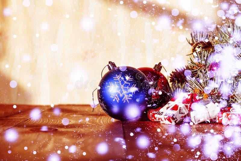 2020 anos novos, Natal Decorações do Natal, do feriado feliz festivo dos presentes do quadro das decorações da decoração mágica a fotos de stock royalty free