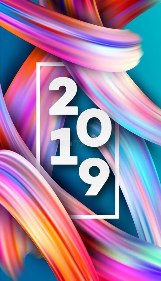 2019 anos novos no fundo de um elemento do projeto do óleo colorido da pincelada ou da pintura acrílica Ilustração do vetor ilustração royalty free