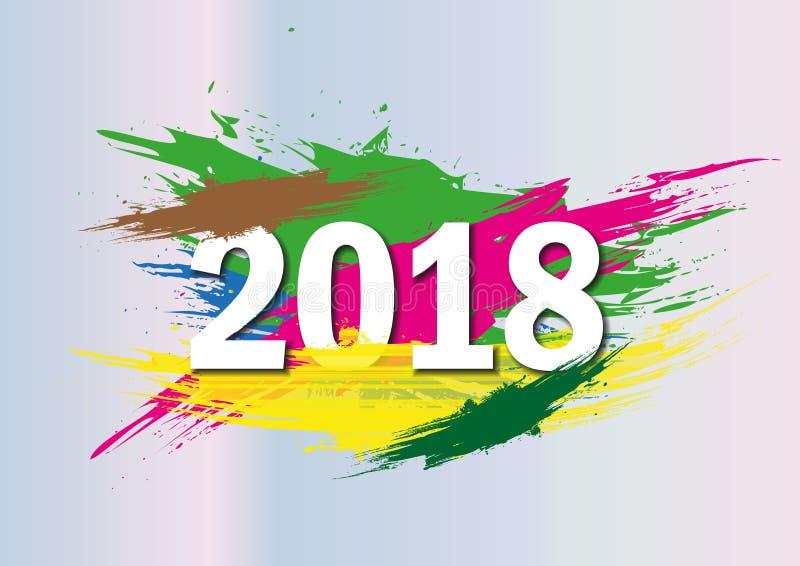 2018 anos novos no fundo de um elemento do projeto do óleo colorido da pincelada ou da pintura acrílica para apresentações, inset ilustração royalty free
