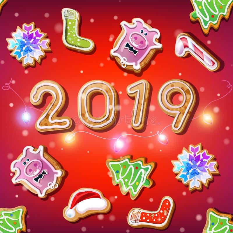 2019 anos novos no fundo vermelho com grupo de cookies do Natal ilustração royalty free