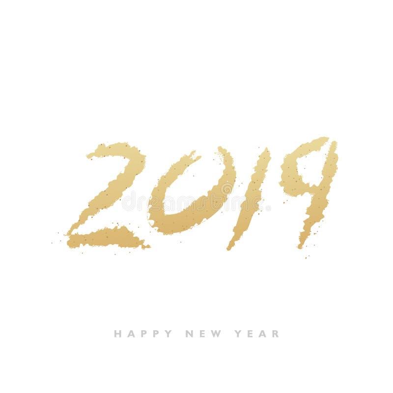 2019 anos novos Texto dourado com os sparkles brilhantes isolados no fundo branco fotografia de stock royalty free