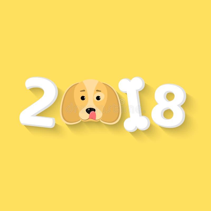2018 anos O ano do cão amarelo da terra O cão lambe-se Os números são caóticos Osso branco A sombra de queda Vecto ilustração stock
