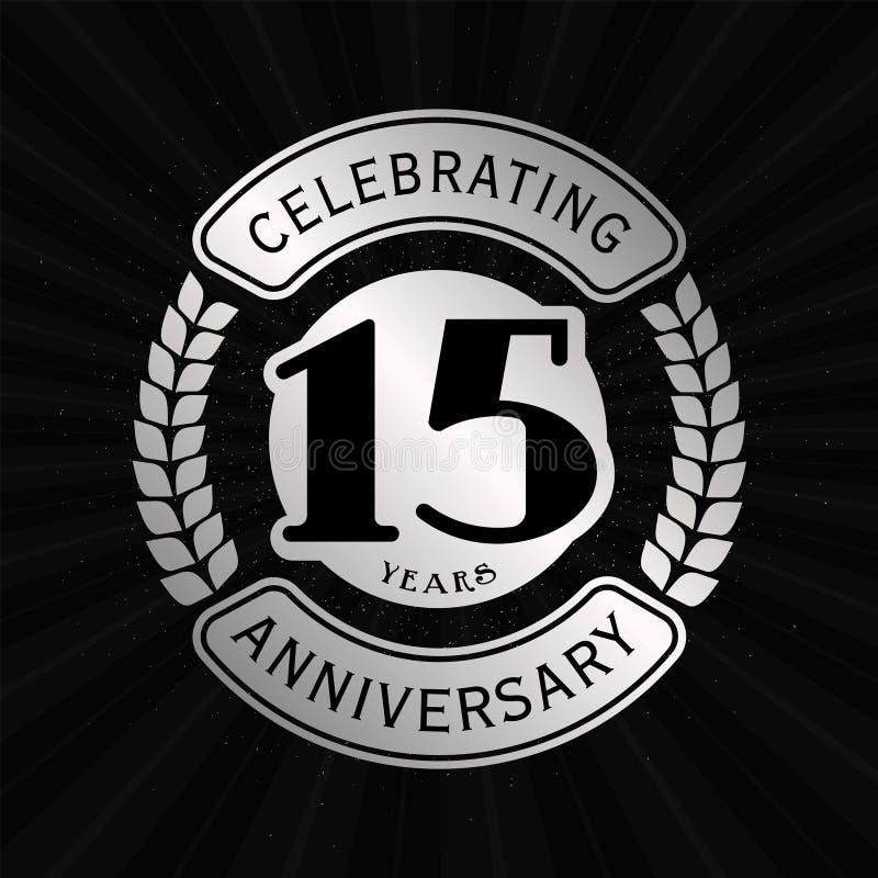 15 anos que comemoram o molde do projeto do anivers?rio 15o logotipo Vetor e ilustra??o ilustração royalty free