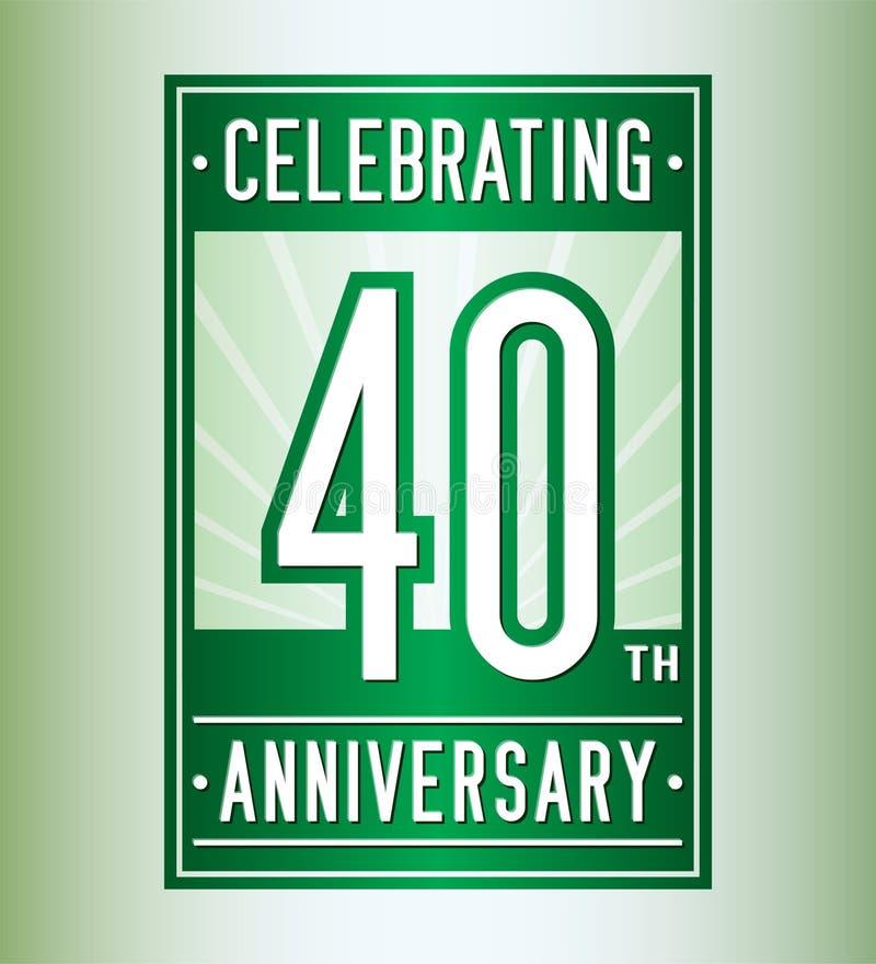 40 anos que comemoram o molde do projeto do anivers?rio 40th logotipo Vetor e ilustra??o ilustração stock