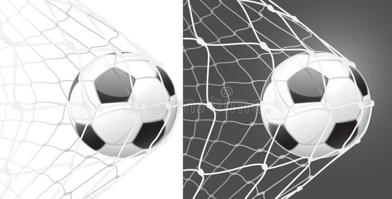 Anote una meta, balón de fútbol ilustración del vector