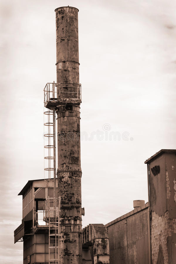 Another old factory in sepia tone stock images